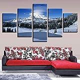 mmwin HD Impresión de Imágenes Decoración de Pared de la Sala 5 Unidades Bosque de Montaña Nevada Paisaje Arte de la Lona Cartel Modular Trabajo