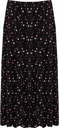 F4S Damen Midi-Rock Rock Gr. 54, black floral (Size Plus Floral Rock)