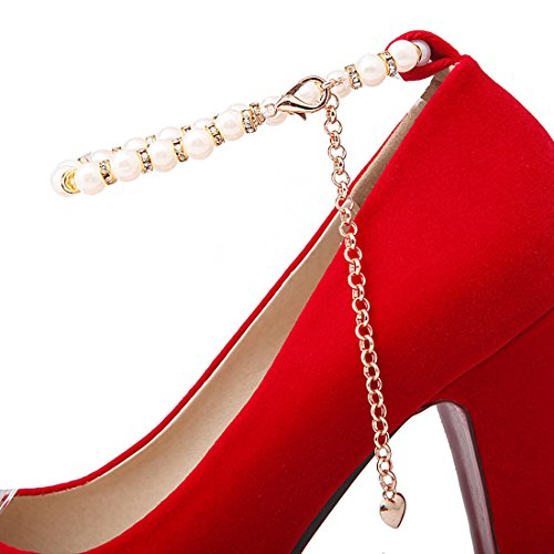 Ye Ankle Pumps Schuhe Plateau Geschlossen Mit High Perlen Blockabsatz Rot Heels Und Damen Bequem Strap rwq1Rrt