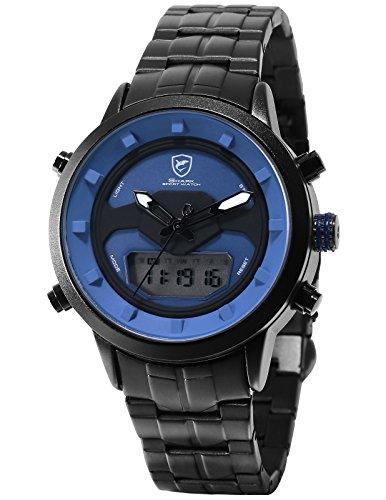 SHARK Quartz Homme Montre Bracelet Acier Inoxydable LCD Double Fuseau horaire Affichage de la Date du Jour SH554