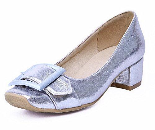 Voguezone009 Senhoras Puxar Quadrado Toe Salto Médio Bombas De Sapatos De Prata Pura