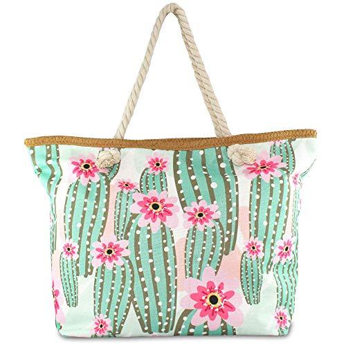 Hats Beach Bag Colorful Summer mit Kordel-Henkel Schulter-Strand-Pool-Schwimmbad-Shopping-Tasche Sommer-Urlaub-Flair Flamingo (Kaktus)