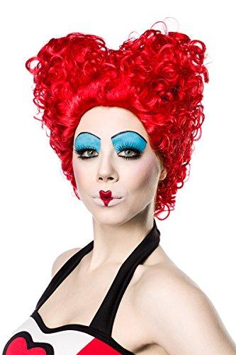 Rote Damen Locken Perücke Wig in Herzform kurz Red Queen Perücke