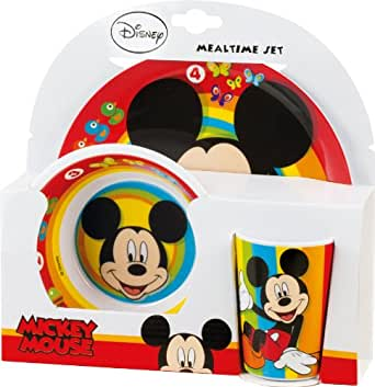 BBS 121810 - Mickey Mouse Mealtime Set, 3 Pezzi in Melammina