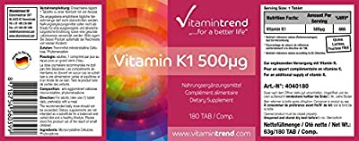 Vitamin K1 500µg, phytomenadione, high dose vitamin K1, vegan, without magnesium stearate, 180 tablets, bulk pack for 6 months