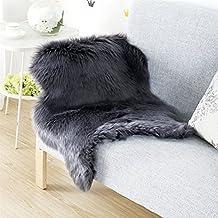 Piel de Imitación,Cozy sensación como real, excelente piel sintética de calidad alfombra de lana - 60 x 90 cm (Negro)