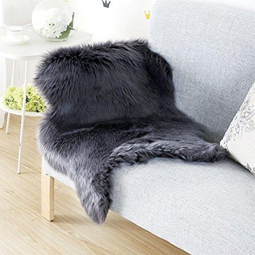 Schwarz Fell Teppich (Faux Lammfell Schaffell Teppich (60 x 90 cm) Lammfellimitat Teppich Longhair Fell Optik Nachahmung Wolle Bettvorleger Sofa Matte (Schwarz, 60 x 90 cm))