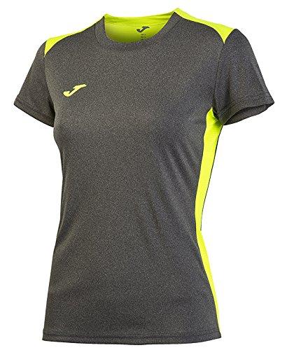 joma-t-shirt-tennis-campus-ii-dark-melange-yellow-fluor-s-m-taglia-l