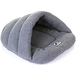 Venta de Hot Dog Pet cueva gato Winter Warm Bed casa saco de Dormir Perros de Peluche Esteras Mascotas Supply Tamaño S / M / L Alta Calidad Entrega Rápida (L, Gris)