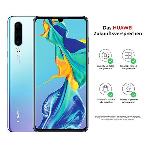 HUAWEI P30 Dual-SIM Smartphone Bundle (6,47 Zoll, 128 GB ROM, 6 GB RAM, Android 9.0) Breathing Crystal + USB-Adapter [Exklusiv bei Amazon] - DE Version -