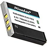Minadax® qualitaets Batterie avec véritable 750mAh pour KODAK EasyShare C763, comme Klic 7005–Système de batterie intelligent avec puce