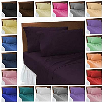 odeur® Plain Dyed Poly Cotton Polycotton Flat Sheets Easy Care Flat Bed Sheets Single Double King Super King Bed Size Pair of Pillowcases
