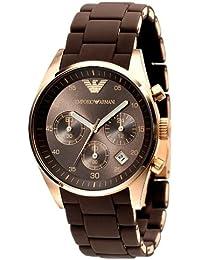 Emporio Armani Sportivo AR5891 - Reloj cronógrafo de cuarzo para mujer, correa de acero inoxidable color Marrón