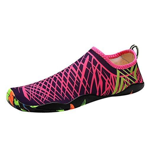 Zilosconcy Socken Wasserschuhe Barfuß Yoga Schnell Trocken Surfen Schwimmen Schuhe für Damen Herren Badeschuhe Wassersportschuhe Strandschuhe Surfschuhe Aquaschuhe Beach Yoga Schuhe für Wassersport - Pink Womens Beach-crocs