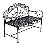Outsunny Panchina da Giardino Biposto Stile Classico in Ferro 113 x 56.5 x 90.5cm, Nero