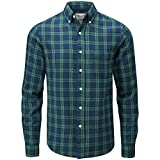 Charles Wilson Camicia di Flanella A Quadri Maniche Lunghe Uomo (X-Large, Green & Blue)
