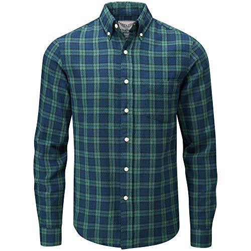 Charles wilson camicia di flanella a quadri maniche lunghe uomo (small, green & blue)
