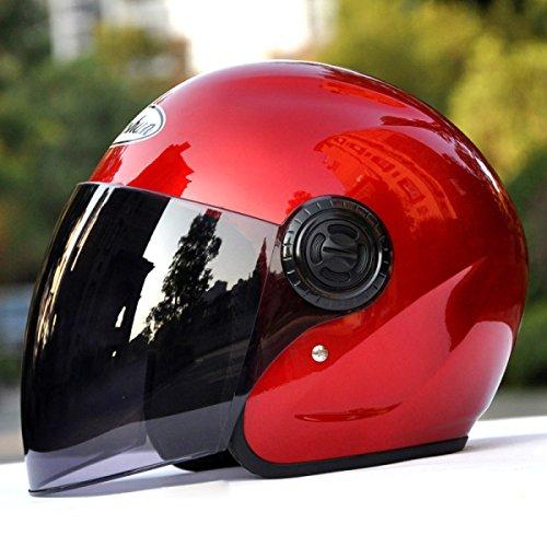 YIHANG @ Motorrad Helm Männer Und Frauen Elektroauto Halber Helm Vier Jahreszeiten Halb Bedeckt Warm Helm,Red-BrownLens