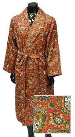 Men's Luxury Dressing Gown - Lightweight Mock Silk - Wine Paisley Pattern (Medium)