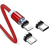 Svnaokr 1 PCS-kabel + 3 stekkers nieuwe snelle magnetische USB-C sneloplaadkabel type C/IOS/Micro USB 360 (rood, 1 m kabel &