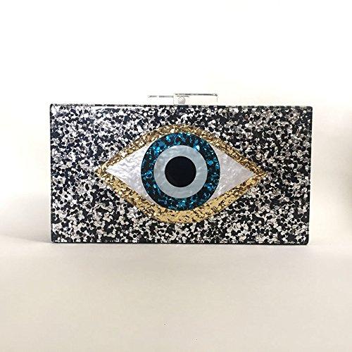 Auge, Acryl, Dinner - Tasche, Silberpailletten, Hand - Tasche black