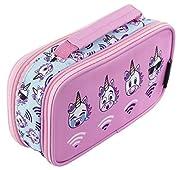 494ef00a12 FRINGOO® Astuccio per bambini bambine con due compartimenti per la scuola  Borsellino con maniglia Unicorn WiFi - 2 Compartments