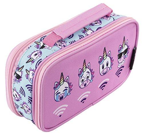Estuche de FRINGOO, organizador de artículos de papelería, con asa y 2 compartimentos, para niños y niñas , color Unicorn WiFi - 2 Compartments Large