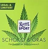 RITTER SPORT SCHOKO + GRAS - Vollmilch Schokolade mit gerösteten Hanfsamen (100 g) LEGAL + LIMITIERT