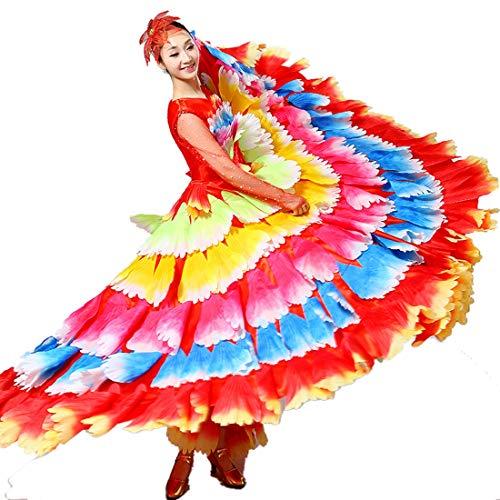 ZYLL Bauchtanz Große Röcke, Stierkampf Tanz Rock Big Swing Rock Kostüm Kostüm Spanisch Stierkampf Tanz Rock Tanz Kostüm Kleider,A,S (Spanischer Tanz Kostüm)