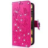 Uposao Kompatibel mit Huawei Honor 10 Handytasche Handy Hülle Schmetterling Blumen Bling Glitzer Diamant Muster Klapphülle Flip Case Cover Schutzhülle Brieftasche Leder Tasche,Hot Pink