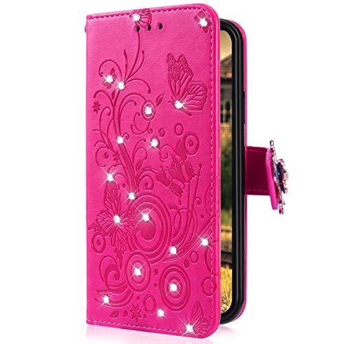 Uposao Kompatibel mit Huawei Honor 9 Handytasche Handy Hülle Schmetterling Blumen Bling Glitzer Diamant Muster Klapphülle Flip Case Cover Schutzhülle Brieftasche Leder Tasche,Hot Pink