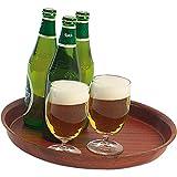 Bierglasträger Serviertablett Tablett Ø 360 x 35 mm aus laminiertem Schichtstoff Farbe Mahagoni nicht spülmaschinenfest