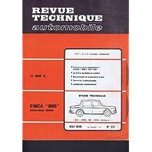 Revue technique automobile, n° 277 : Simca 1000 nouvelle serie
