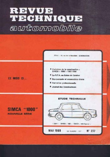 Revue technique automobile, n° 277 : Simca 1000 nouvelle serie par Collectif