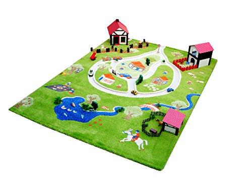 """IVI NB/101MD011YE13182-IT Tappeto Ipoallergenico da Gioco in 3D per Bambini con Motivo """"Giocare Farm"""", Multicolore, 134 x 180 cm"""