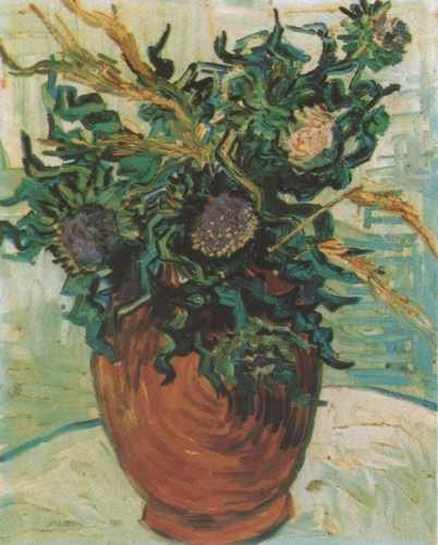 Still Life Vase With Flower And Thistles Auvers Sur Oise 1890 A3 Box Canvas Print Thistle Vase