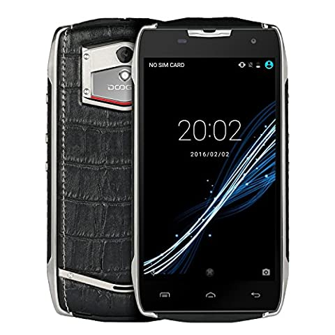 Telephone Portable Debloqué Incassable, DOOGEE T5 Smartphone 4G IP67 Étanche Antichoc, Téléphone Android 6.0 Double SIM, 4500mAh, 3 Go de RAM + 32 Go de ROM, 5MP + 13MP Caméras, Double Apparences (Sportif & Business) - Noir