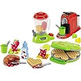 Unbekannt Küchengeräte im Set, 3 Stück mit viel Zubehör, für Kinder ab 18 Monaten - Spielzeug Kaffeemaschine Waffeleisen Mixer Kinderküche-Zubehör
