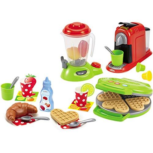 Preisvergleich Produktbild Küchengeräte im Set, 3 Stück mit viel Zubehör, für Kinder ab 18 Monaten - Spielzeug Kaffeemaschine Waffeleisen Mixer Kinderküche-Zubehör