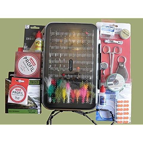 Fly Fishing Set Regalo Premium, Box di mosche e accessori, confezione regalo disponibile (SET8), In Gift Box - Pesca A Mosca Indicatori Sciopero