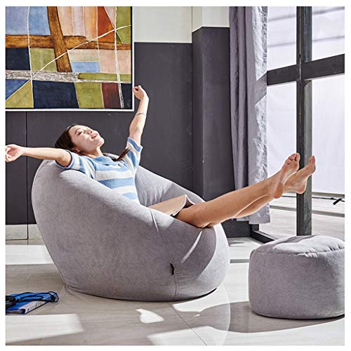 FJIE Deluxe Lounger & Footstool Seat, Waschbar Lässige Sitzsack Chair, Lounger Seat Sitzsack Cover Chairs Pouf Puff Couch Tatami (Size : 110 X 90cm) -