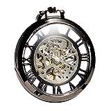 ManChDa® Reloj de bolsillo Vintage negro cara Esfera esqueleto Movimiento mecánico Viento de la mano Latón de gran tamaño para los hombres Mujeres con cadena + Caja regalo