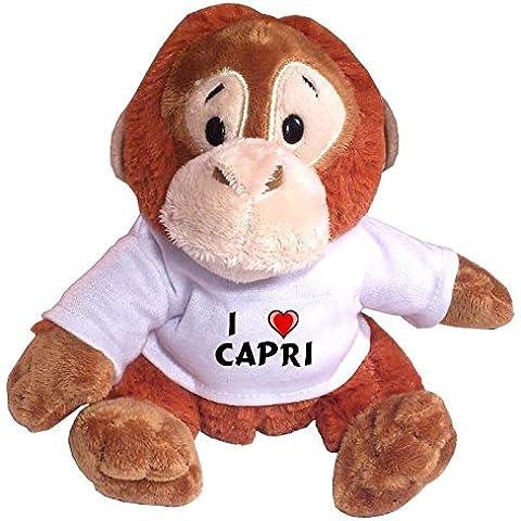 Mono (orangután) de peluche con Amo Capri en la camiseta (nombre de pila/apellido/apodo)