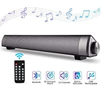 Bluetooth Sound Bar 40cm Portable Wireless Speakers for Home Theater Surround Sound with Built-in Subwoofers for TV/PC/Phones/Tablets with Remote Control