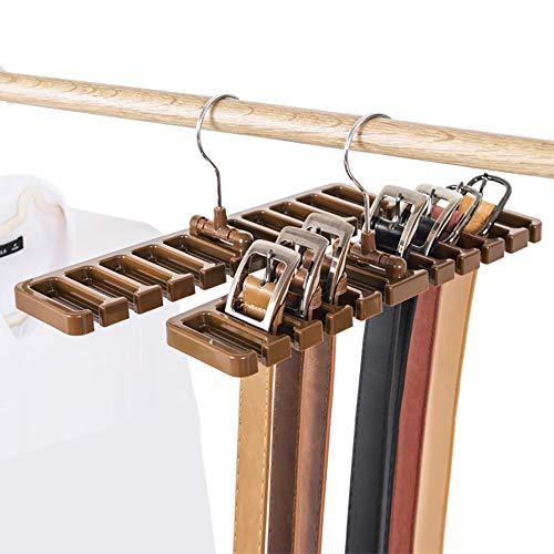 Liumei organizzatore con 10 slot per cravatte/cinture/sciarpe plastica robusta salvaspazio armadio con gancio metallo Marrone