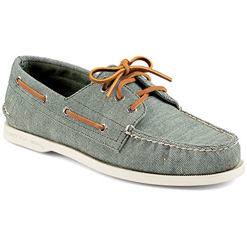 Sperry Top-Sider Men's A/O 3 Eye Fleck Canvas Boat Shoe, Green, 9.5 M US
