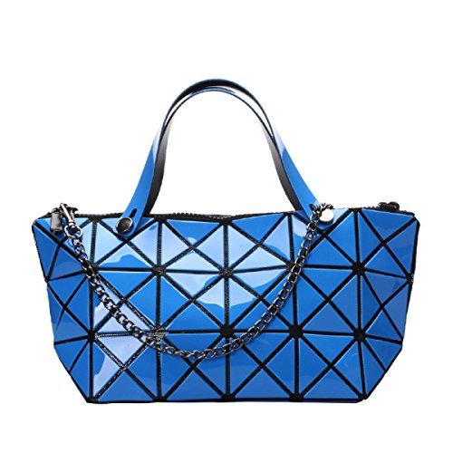 Damenmode Geometrische Schultertasche Handtasche Blue