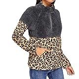 UJUNAOR Frühling Frauen Mode Pullover mit Stehkragen im Leoparden-Print(Khaki,CN XL)