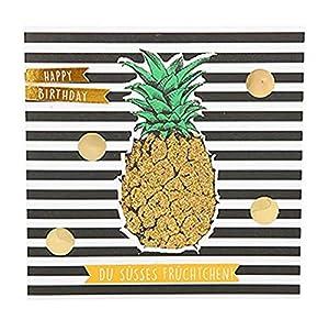 Depesche 8211.037Tarjeta de felicitación Glamour con Ornamento y Purpurina, cumpleaños