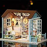 Weehey Fai-da-Te Miniature Dollhouse Kit Realistico Mini 3D Casa in Legno Artigianato con mobili LED Luci Regalo di Natale di Natale